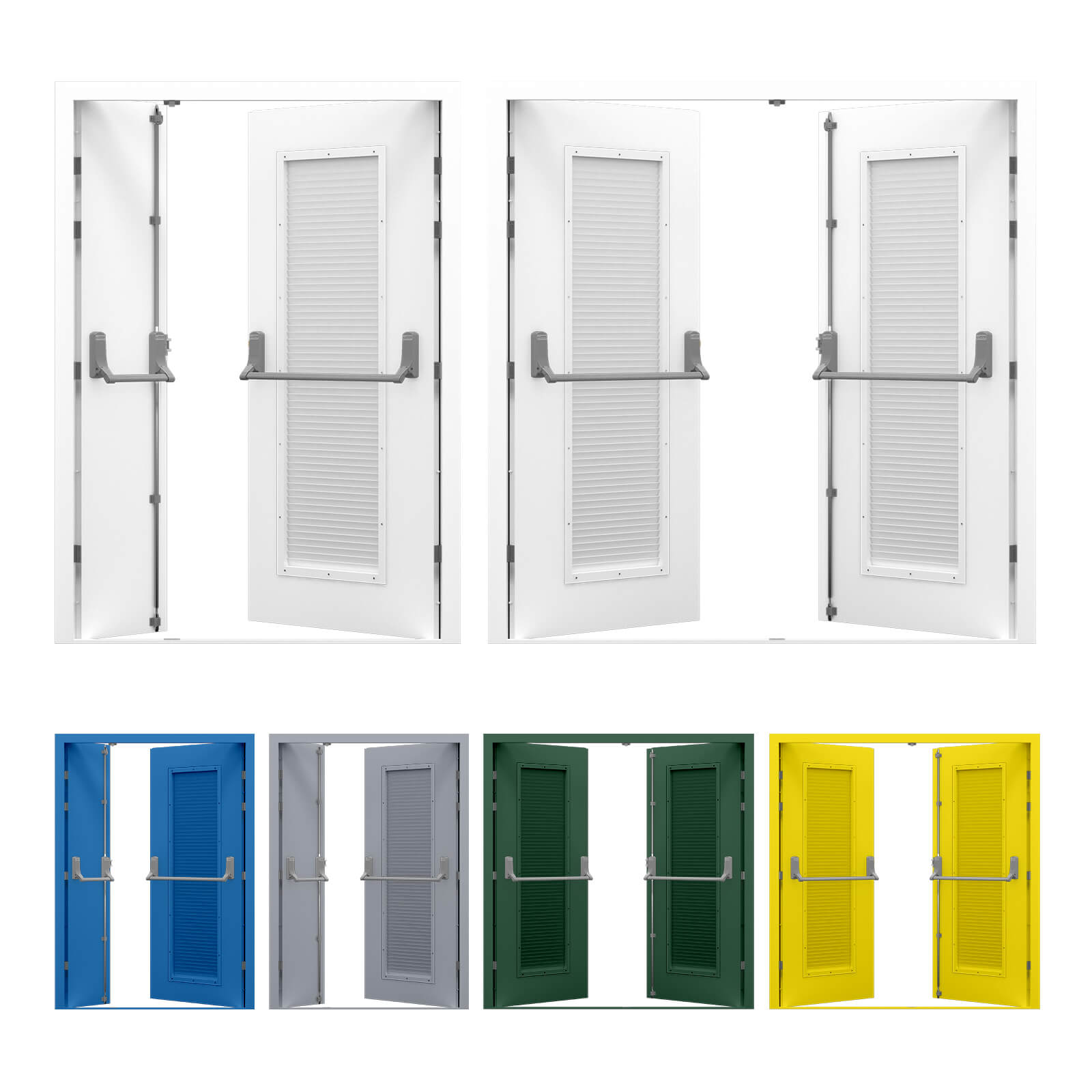 Louvred Double Fire Exit Door with Exidor Panic Bar  sc 1 st  Lathamu0027s Steel Doors & Louvred Double Fire Exit Door | Lathamu0027s Steel Doors