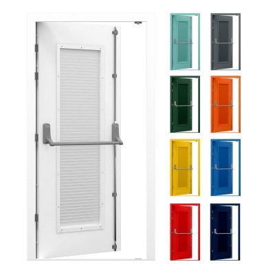 Louvred security fire exit door with Exidor panic bar