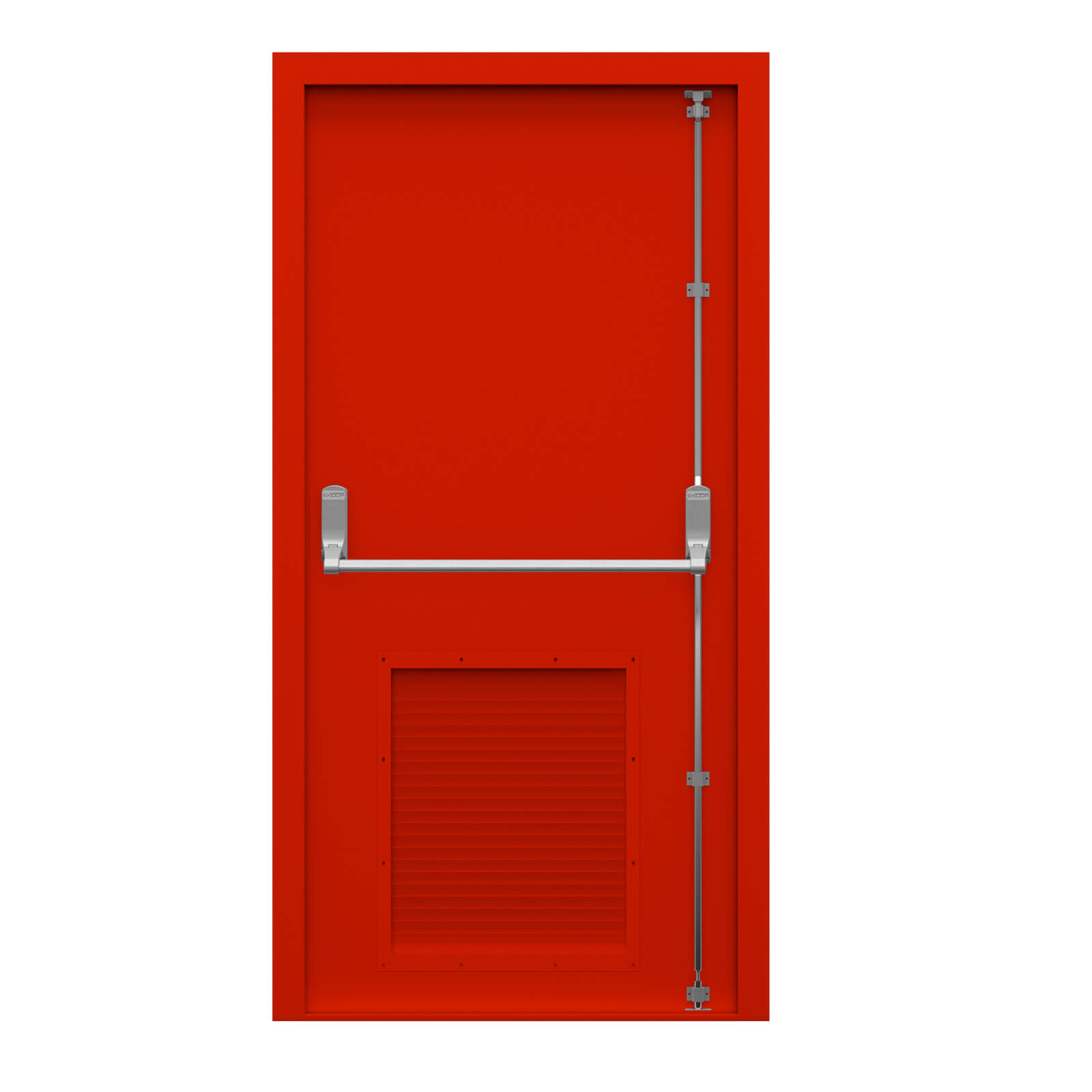 Charmant Red Half Louvred Fire Exit Door