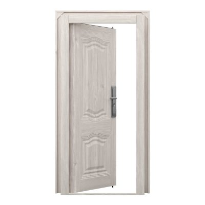 Single Windsor elite steel door finished in a white, wood grain effect