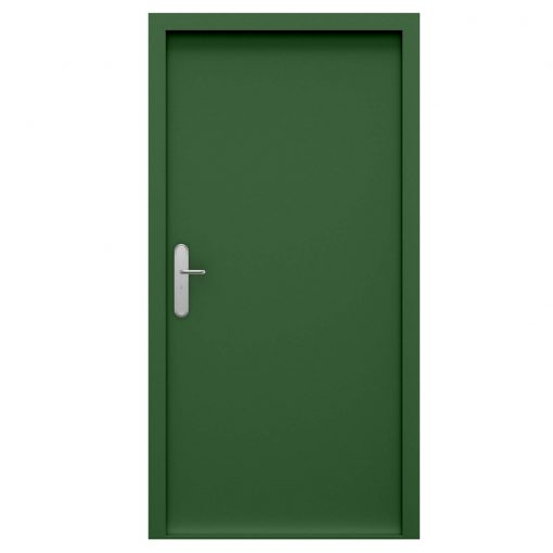 High security steel door powder coated leaf green