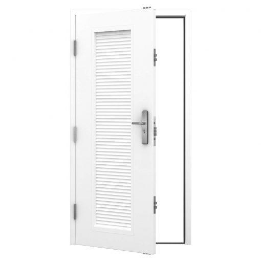 Steel personnel door with full louvre panel