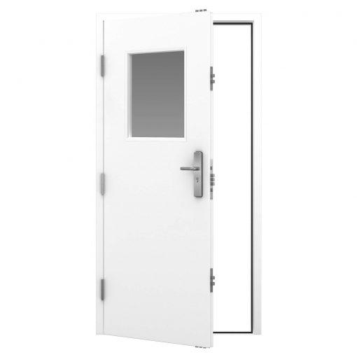 Steel personnel door with vision panel