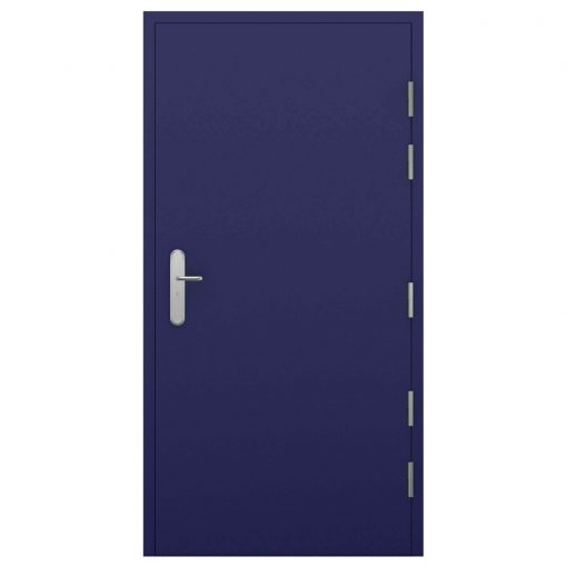 High security steel door in ultramarine blue