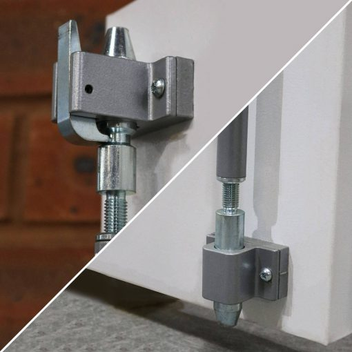 Close up of adjustable shoot bolts on double fire exit door