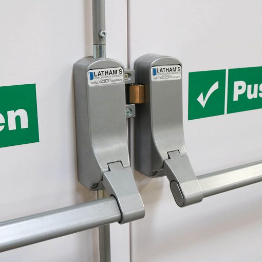 Close up image of Exidor 285 push bar fitted to Latham's double fire exit door