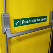 Image of Exidor 294 push bar fitted to security fire exit door