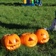 Three of the pumpkins carved at Tividale Park at the Let's Play Sandwell event