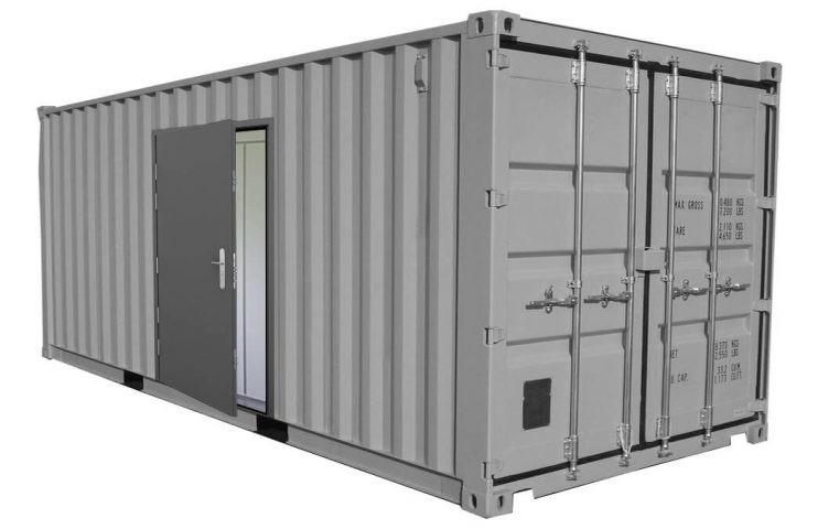 Steel door fitted on a shipping container