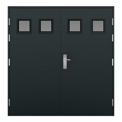 Anthracite grey garage door with four small glazing panels