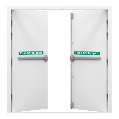 double fire exit door in signal white