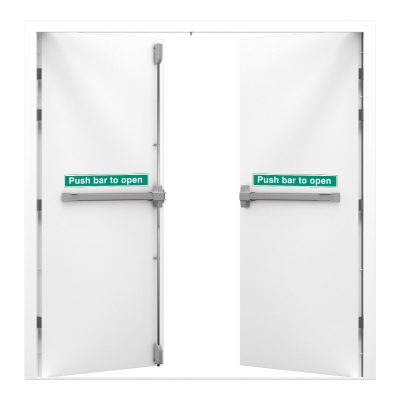 Signal white double fire exit with push bar to open sticker
