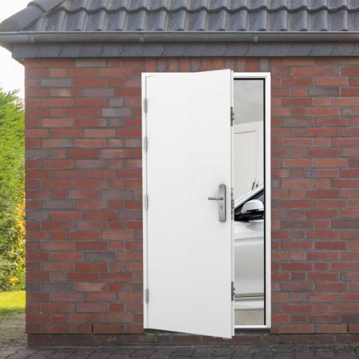 side door installed in a garage