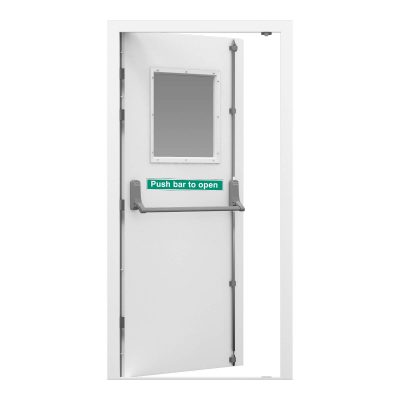 Security Fire Exit in siganl white fitted with Exidor 322 lever operated outside access device