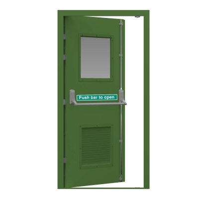 Security fire exit door in grass green