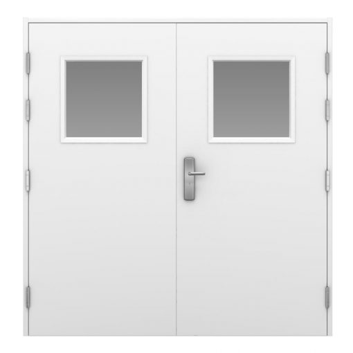 Image of a white high security side hinged garage door