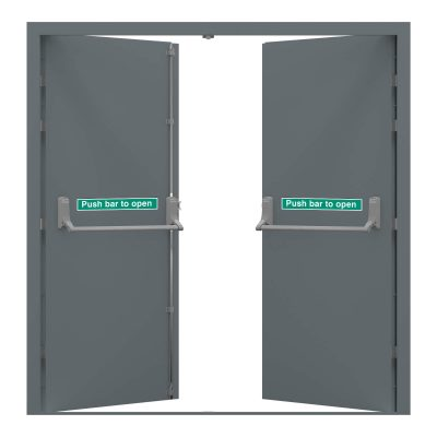 Image of double fire exit door in merlin grey