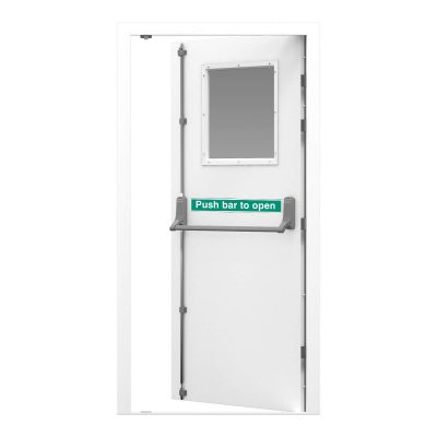 single fire exit door with glazing panel and push bar to open sticker
