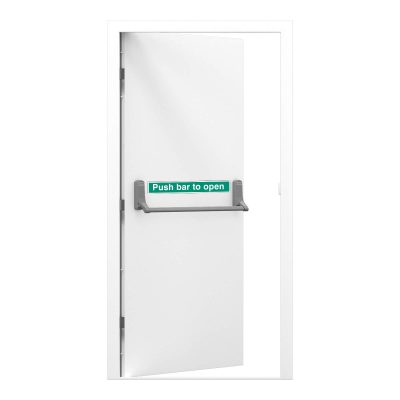 Single budget fire exit door in signal white with push bar to open sticker