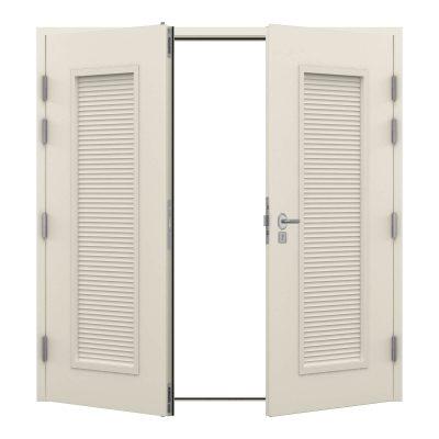 Steel double door in pure white with louvre panels on each door
