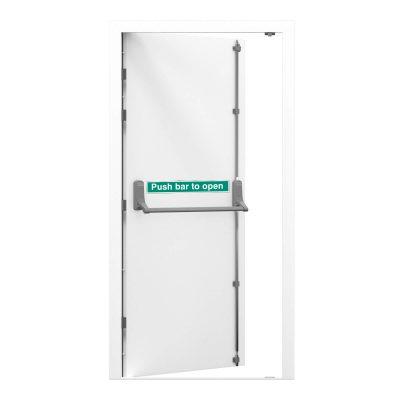 white steel fire exit door
