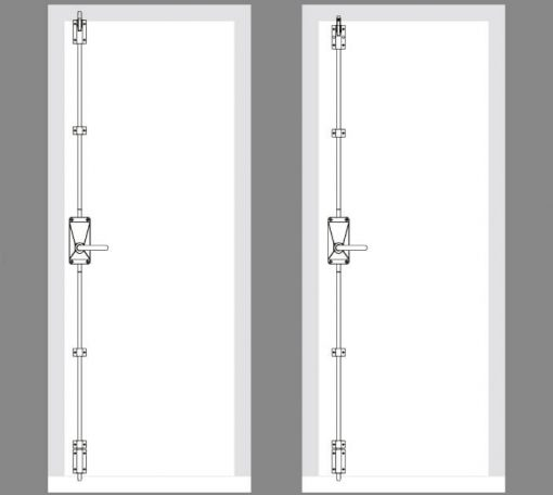 CAD drawing for the Exidor 702l lever emergency exit handle