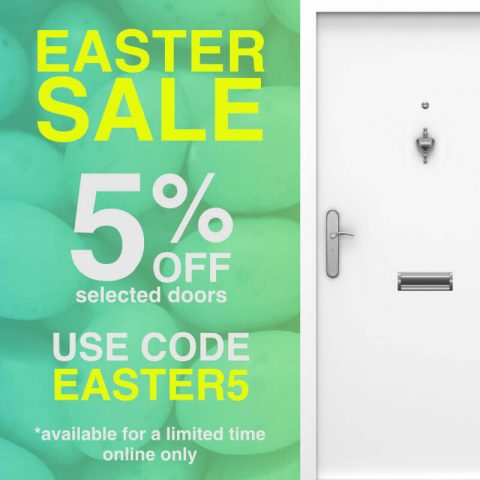 White door with easter sale text