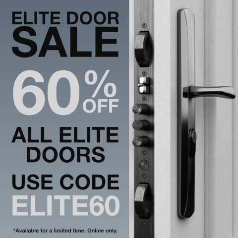 details of code ELITE60 for 60% off all elite doors