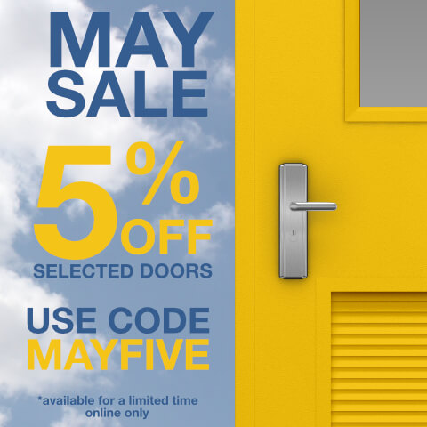 Graphic showing discount code MAYFIVE for use on selected doors bought on the website