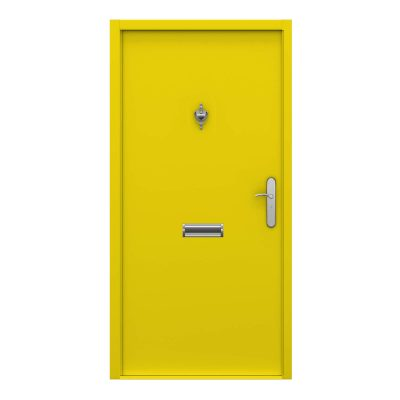 Colza Yellow front door with knocker, viewer and letterbox