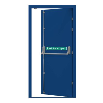 Traffic blue security fire exit clearance door RMF162