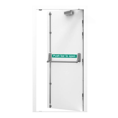 White security fire exit door with fitted door closer, clearance code RMF164