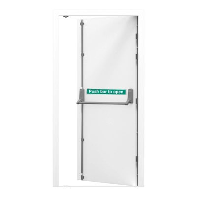 Security fire exit in white listed as a clearance door