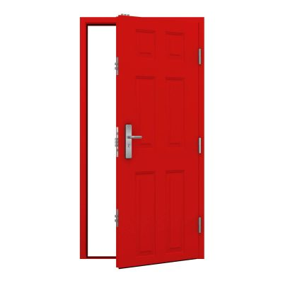 Traffic red budget 6 panelled steel door clearance code RMP197