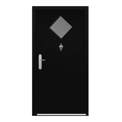 Jet black ultra duty steel door with diamond glazing panel and door knocker