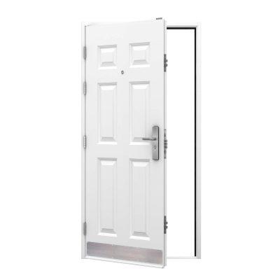 white 6 panel steel door, clearance code RMP209