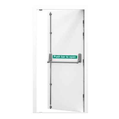 white security fire exit with push bar sticker and exidor panic bar, clearance code RMF173