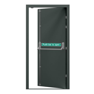 Basalt grey steel fire exit door clearance code RMF177