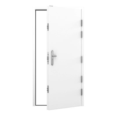 High security steel door in signal white, clearance code RMP198