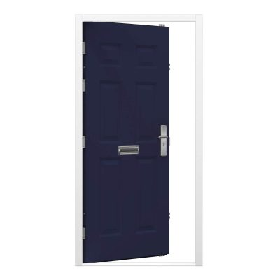 cobalt blue panelled steel door leaf with white door frame, clearance code RMP217