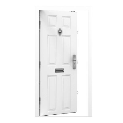 white panelled steel door with door knocker and viewer and letterbox installed. clearance code RMP218