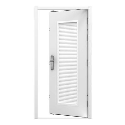 White security steel door fitted with full length louvre panel, clearance code RMP226