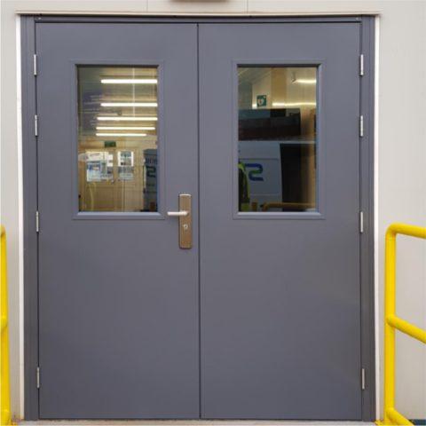 Grey glazed security steel double door