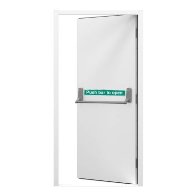 Budget fire exit door inside view showing single point push bar, clearance code RMF255