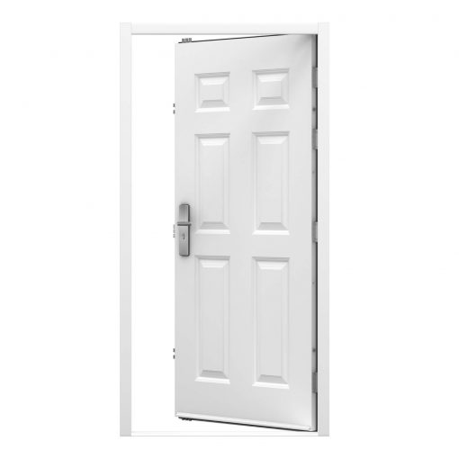 white panelled steel door with a rain drip, clearance code RMP214