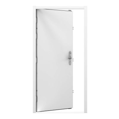 white security steel door fitted with code lock. Clearance code RMP231