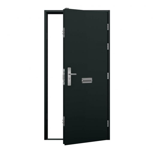 Anthracite grey security door with letterbox, clearance code rmp237