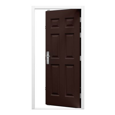 chocolate brown panelled steel door leaf with white frame.