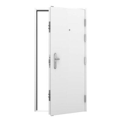 high security white steel door with door viewer, clearance code RMP241