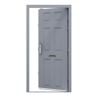 panelled security door powder coated in window grey, clearance code RMU11